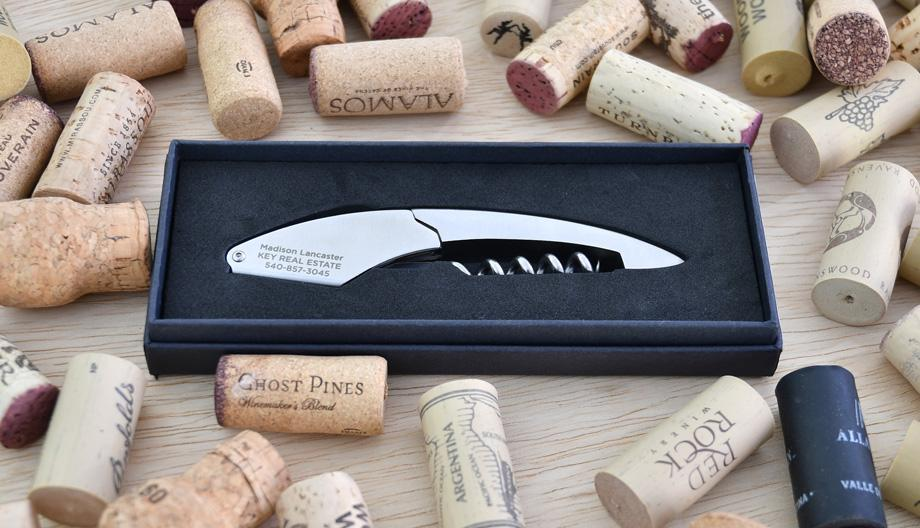 Engraved Wine Corkscrew for closing or client gifts