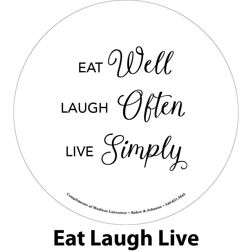 eat, laugh, live engraving sample