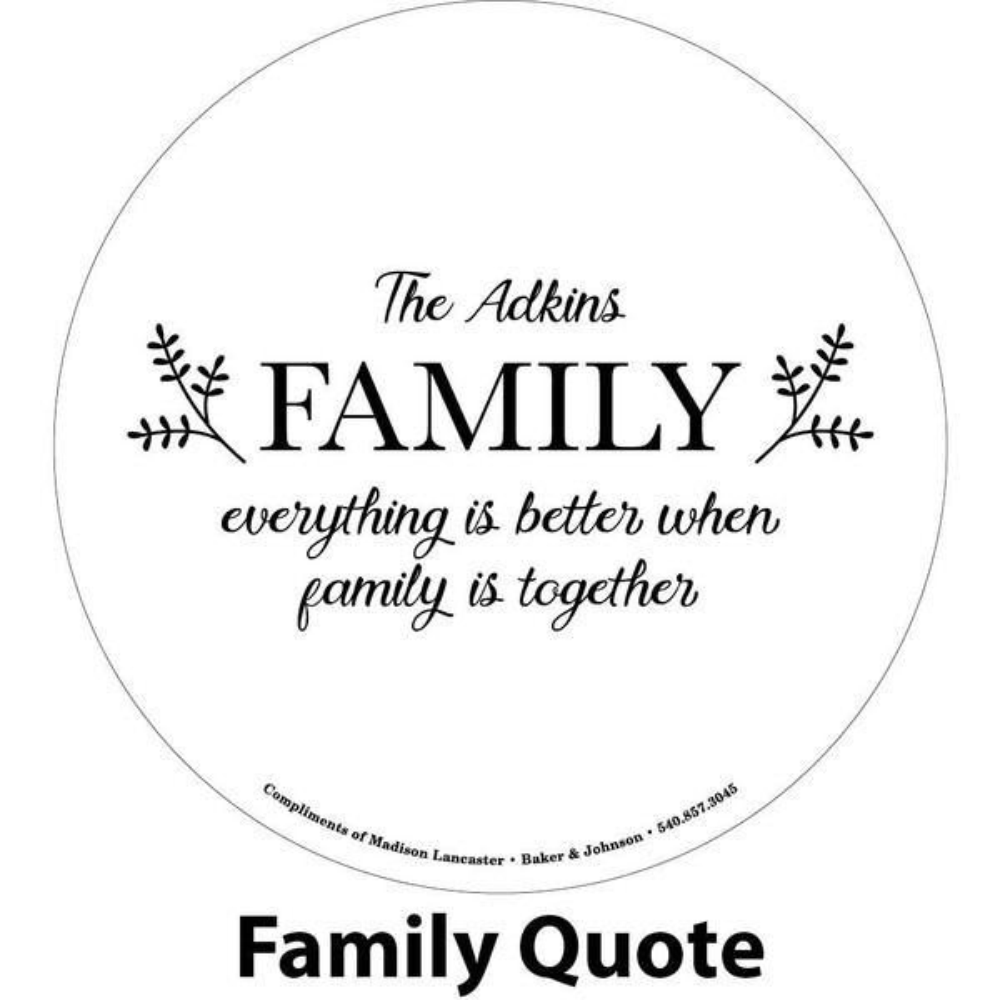 family phrase engraving sample