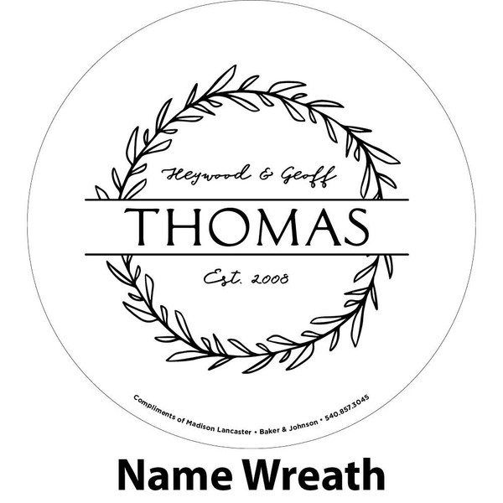 Last name wreath engraving sample